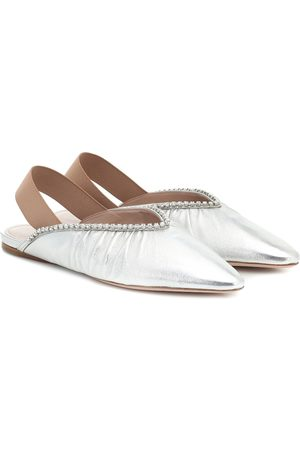 Miu Miu Embellished leather slingback flats