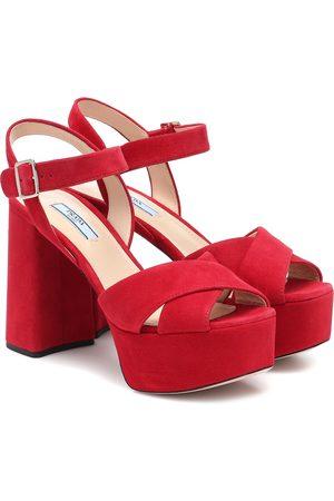 Prada Dames Sandalen - Suede plateau sandals