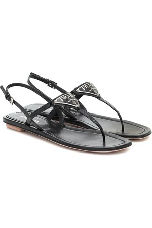 Prada Logo patent leather sandals