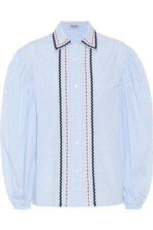 Miu Miu Embroidered checked cotton blouse