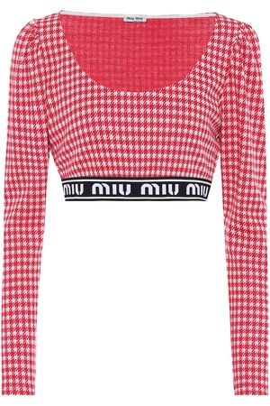 Miu Miu Houndstooth wool-blend crop top