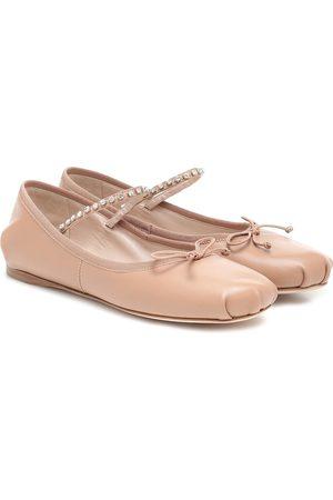 Miu Miu Dames Ballerina's - Embellished leather ballet flats