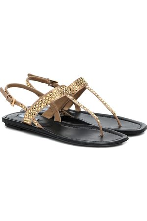 Prada Embellished metallic leather sandals