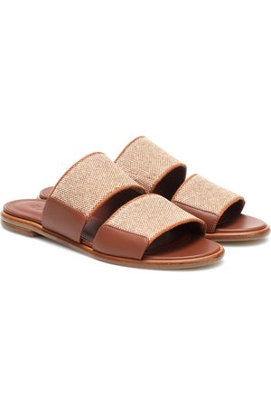 Loro Piana Kalahari leather-trimmed slides