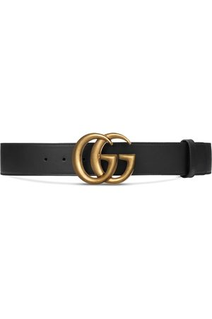 Gucci Wide leather belt with Double G buckle
