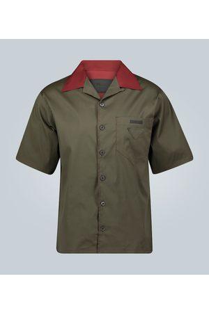 Prada Short-sleeved camp collar shirt with logo