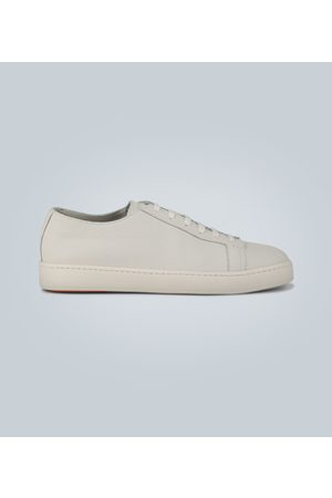 santoni Pebble grain leather sneakers