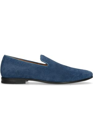 Manfield Heren Loafers - Blauwe suède loafers
