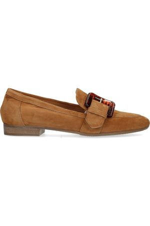Manfield Dames Loafers - Cognac suède loafers met gesp