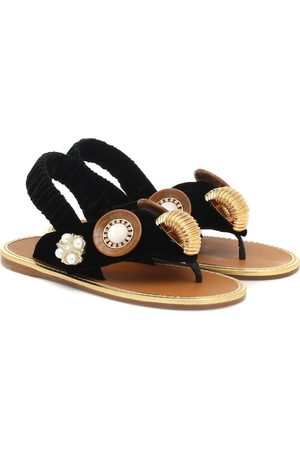 Miu Miu Embellished cotton thong sandals