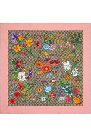 Gucci Dames Sjaals - GG Flora print silk scarf