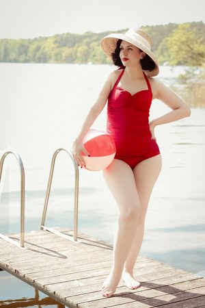 Esther Williams Classic Fifties One Piece Swimsuit in Red