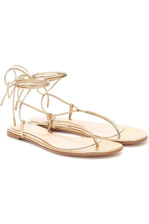 Gianvito Rossi Metallic leather thong sandals