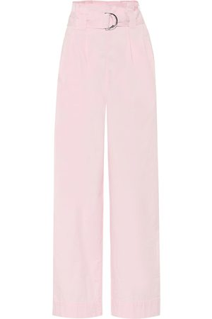 Ganni Stretch-cotton wide-leg paperbag pants