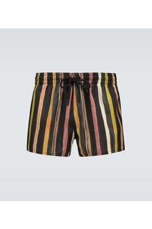 Commas Heren Shorts - Latte striped linen shorts