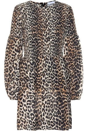 Ganni Leopard-print cotton and silk minidress