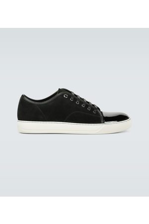 Lanvin Suede and patent cap-toe sneakers