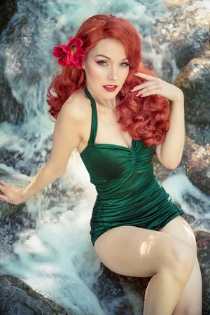 Esther Williams Dames Badpakken - 50s Classic Fifties One Piece Swimsuit in Green