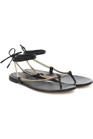 Gianvito Rossi Dames Strings - Leather and chain thong sandals