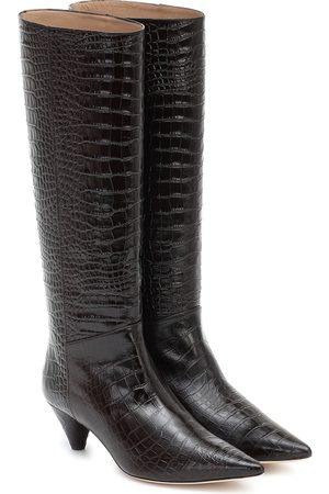 Joseph Croc-effect leather knee-high boots
