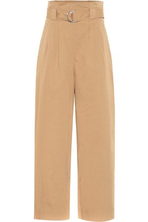 Ganni Wide-leg cotton paperbag pants