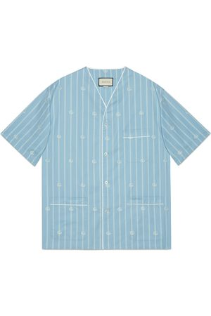 Gucci Heren Shirts - Double G stripe cotton oversize shirt