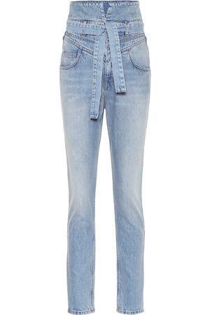 The Attico Dames Slim - High-rise slim paperbag jeans