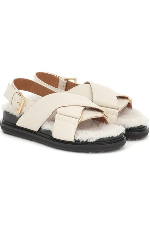 Marni Fussbet shearling and leather sandals