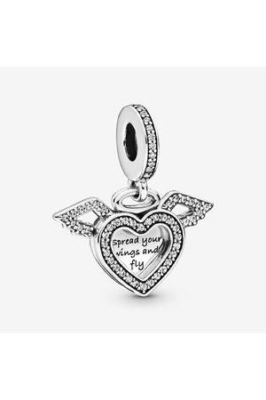 PANDORA Hart & Engelenvleugels Hangende Bedel, Sieraden uit Sterling zilver, Cubic Zirconia, , 798485C01