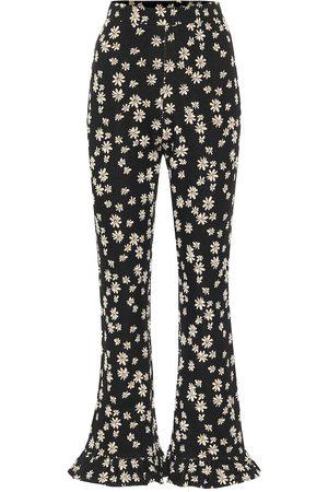 Miu Miu Dames Wijde broeken - Floral high-rise flared pants