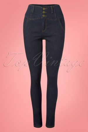 Collectif 50s Rebel Kate High Waist Stretch Trousers in Denim Blue
