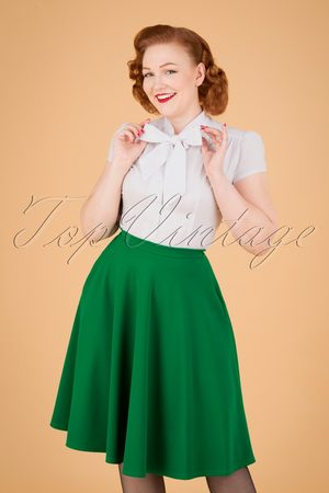 Vintage Chic Dames Rokken - 50s Sheila Swing Skirt in Emerald Green