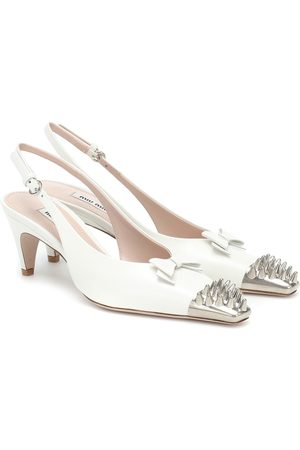 Miu Miu Dames Pumps - Slingback studded leather pumps