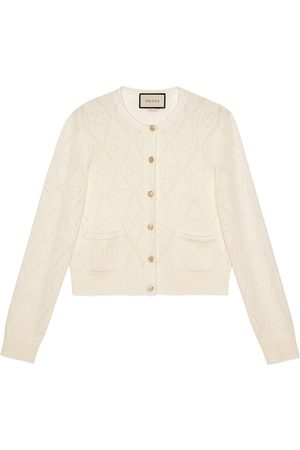 Gucci Dames Cardigans - GG perforated wool crop cardigan