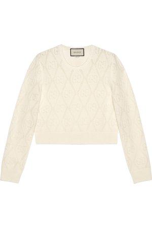 Gucci Dames Truien - GG perforated wool crop jumper