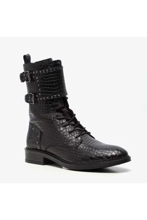 TwoDay Leren dames croco veterboots