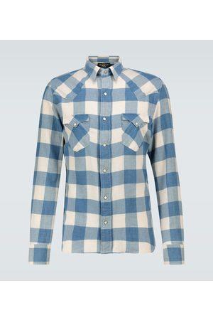RRL Heren Shirts - Cotton-linen checked flannel shirt
