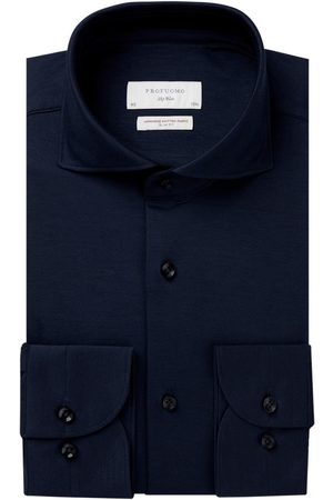 Profuomo Overhemd navy knitted Slim Fit