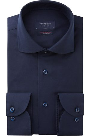 Profuomo Overhemd Slim Fit donkerblauw two ply