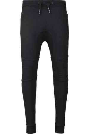Tigha Heren Jogging broek Trevor Zip zwart (black)