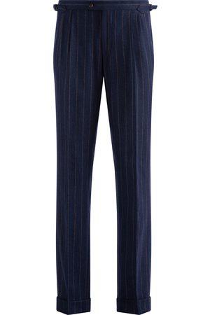 SOC13TY Pantalon Heren Donkerblauw Gestreept Wool