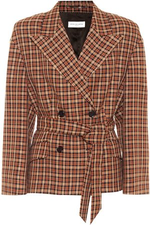 DRIES VAN NOTEN Dames Wollen jassen - Checked wool-blend blazer