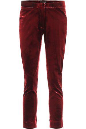 ANN DEMEULEMEESTER Dames Slim & Skinny broeken - High-rise skinny cropped velvet pants