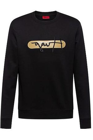 HUGO BOSS Heren Sweaters - French-terry cotton sweatshirt with new-season logo embroidery