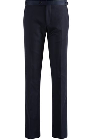 SOC13TY Heren Pantalons - Pantalon Heren Donkerblauw Smoking Wol