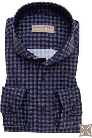 john miller Overhemd blauw geruit Tailored Fit