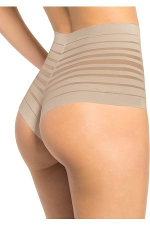 LEONISA Dames Slips - Lace Stripe High-Waisted Cheeky Hipster | Nude