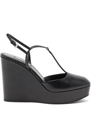 Prada Dames Sleehakken - Square-toe T-bar Leather Wedges - Womens - Black