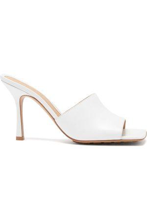 Bottega Veneta Square-toe Leather Mule Sandals - Womens - White