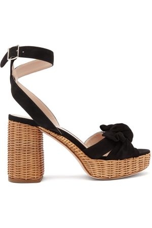 Miu Miu Bow-front Suede And Wicker Platform Sandals - Womens - Black